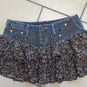 Express Jeans mini skirt with jewels